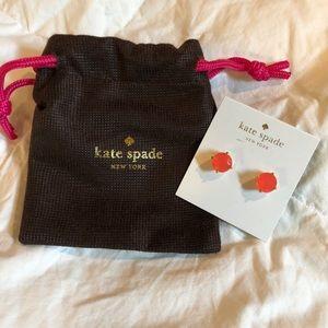 NWT kate spade pink/orange crystal stud earrings